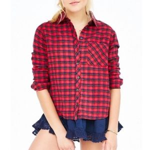 BDG plaid Flannel top with peek a boo bottom lace